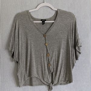 Rue 21 Grey Tie Blouse [Small]